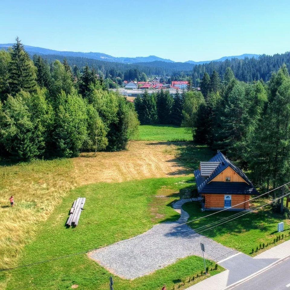 Widok Domu z drzew z wysokości